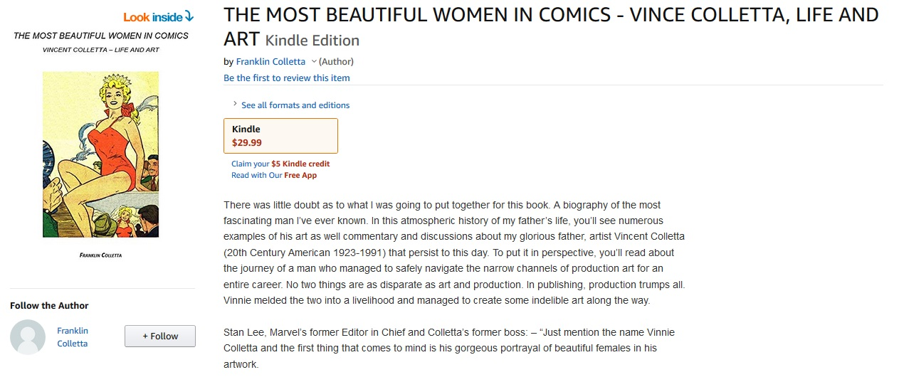Purchase the Kindle Edition of THE MOST BEAUTIFUL WOMEN IN COMICS - VINCE COLLETTA, LIFE AND ART